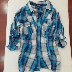 💗Ruched Plaid Shirt